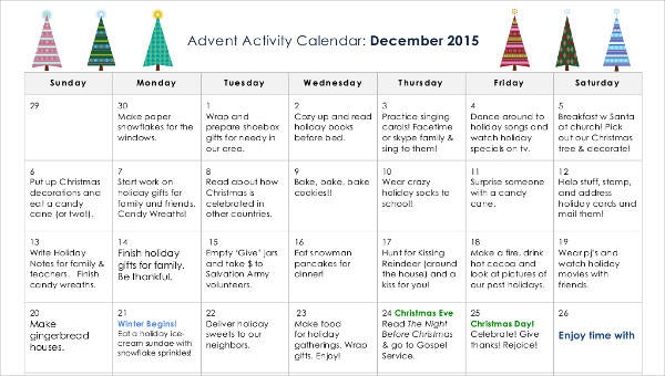 10+ Activity Calendar Templates \u2013 Free Sample, Example, Format