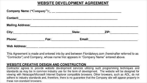 7 Printable Development Contract Samples  Templates Sample Templates