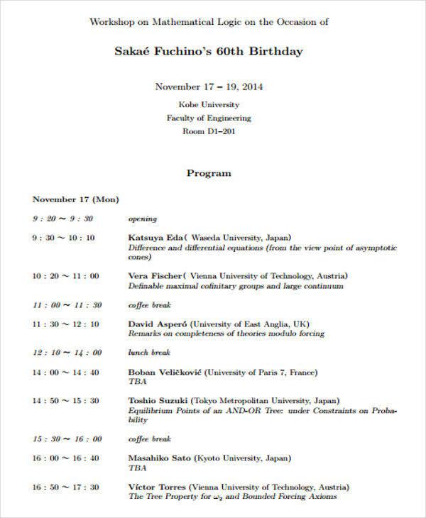 20+ Event Program Samples  Templates - PDF, DOC