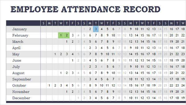 7+ Attendance Calendar Templates \u2013 Free Sample, Example, Format - attendance calendar templates