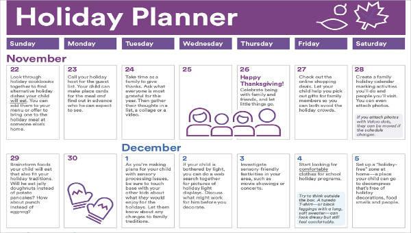 5+ Holiday Calendar Template \u2013 Free Downloadable Samples, Examples - holiday calendar template