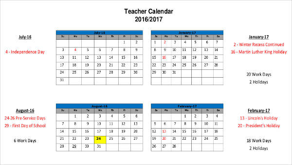 6+ Teacher Calendar Templates - Free Sample, Example, Format Download