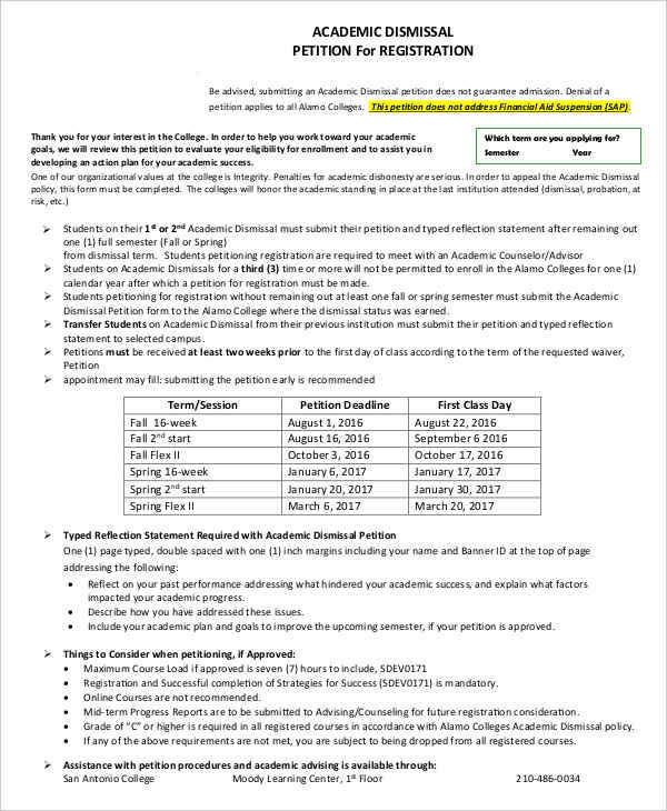 6+ Academic Petition \u2013 Free Sample, Example, Format Download - petition examples
