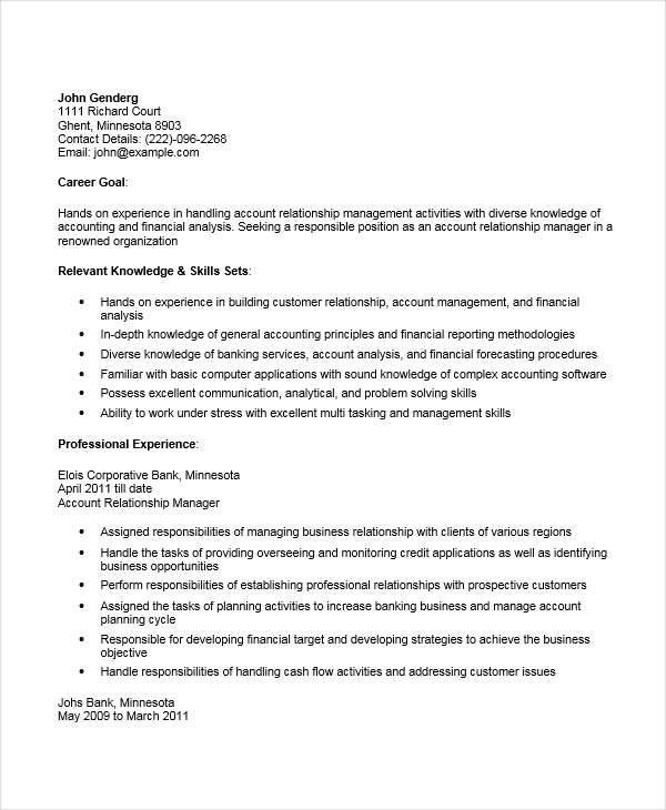 resume format relationship manager