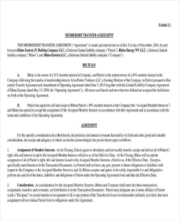 11+ Transfer Agreements - Word, PDF, Pages