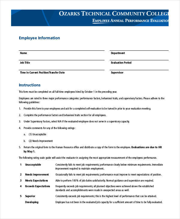 ... 20 Employee Evaluation Form Templates   Hr Evaluation Form ...