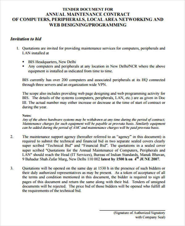 Maintenance Contract Agreement Annual Maintenance Contract 8+ - yearly contract template