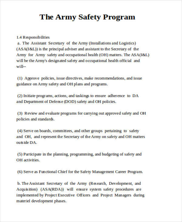 7+ Safety Program \u2013 Examples in Word, PDF Sample Templates