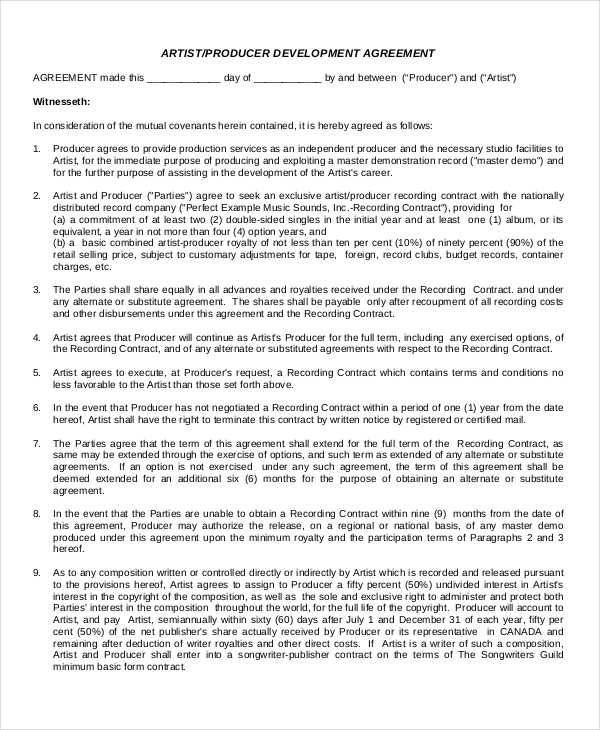 Development Contract Template Land Development 7+ Land Contract - sample artist contract template