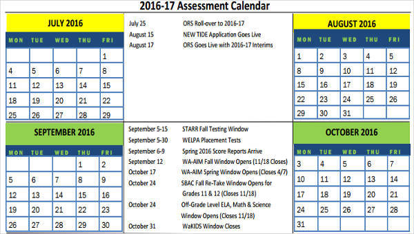9+ Assessment Calendar Templates - Examples in Word, PDF