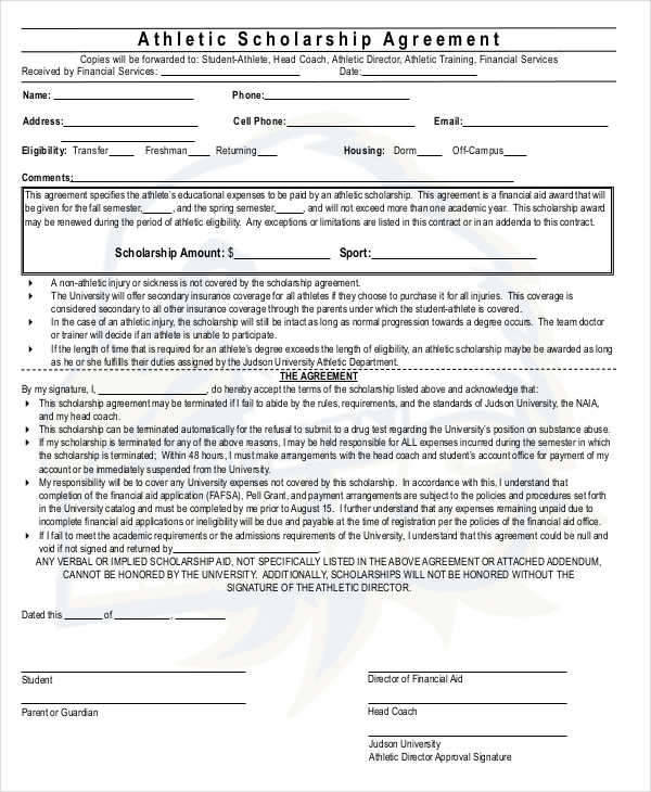 7+ Scholarship Contract Samples  Templates - PDF, DOC