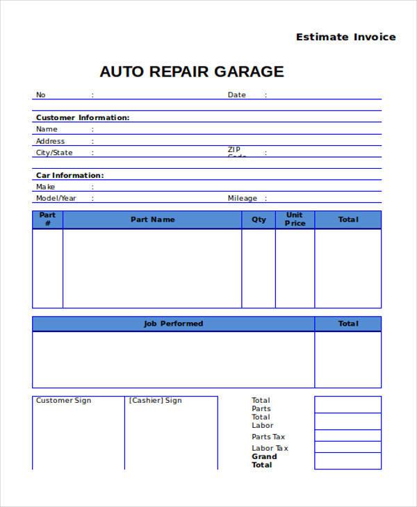 8 Auto Repair Invoice Templates - Free Sample, Example, Format - auto repair invoice templates