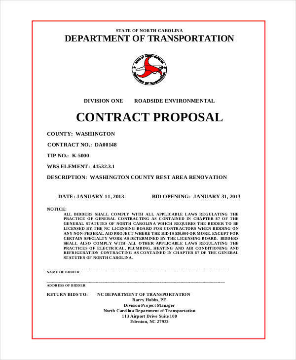 6+ Contract Proposals \u2013 Examples in Word, PDF Sample Templates