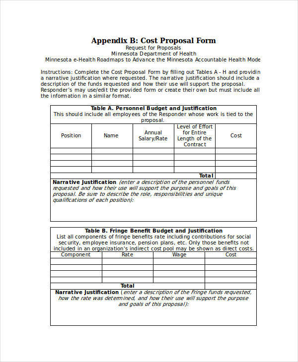 6+ Cost Proposal Templates \u2013 Examples in Word, PDF Sample Templates - Cost Proposal Templates