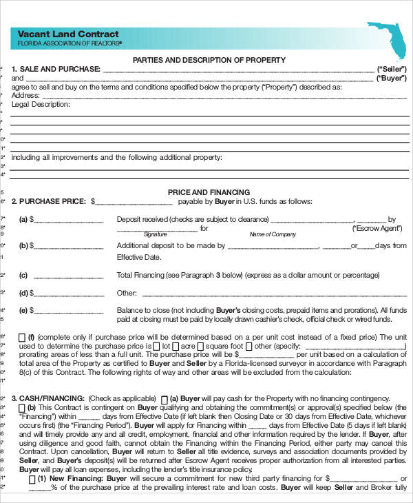 7+ Land Contract Templates \u2013 Examples in Word, PDF Sample Templates - blank purchase contract