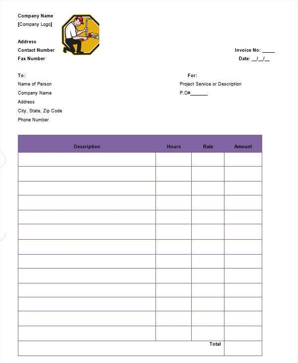 7+ Plumbing Invoice \u2013 Free Downloadable Samples, Examples, and