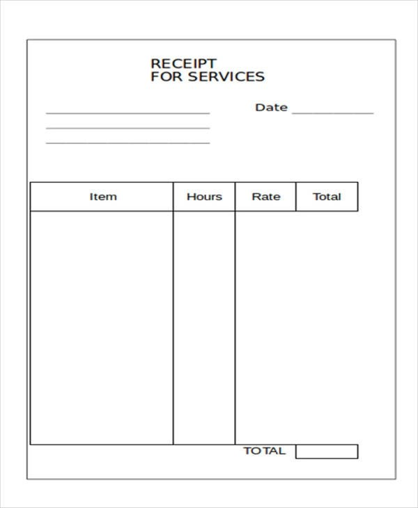 10+ Blank Receipt Templates \u2013 Examples in Word, PDF Sample Templates - printable receipt for services