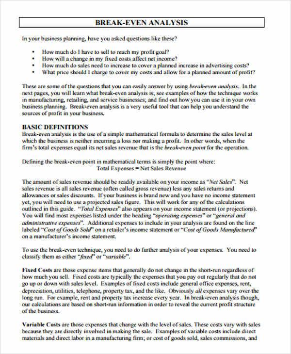 6+ Breakeven Analysis \u2013 Examples in Word, PDF Sample Templates