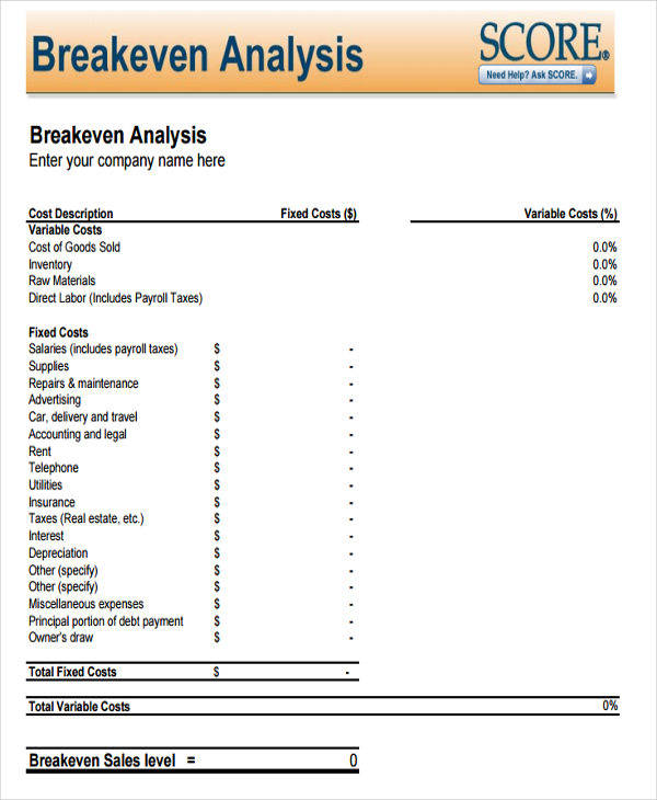 6+ Breakeven Analysis \u2013 Examples in Word, PDF Sample Templates - Breakeven Analysis