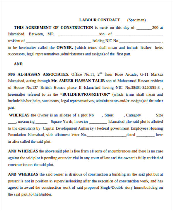 6 Labour Contract Samples  Templates Sample Templates - agreement for labour contract