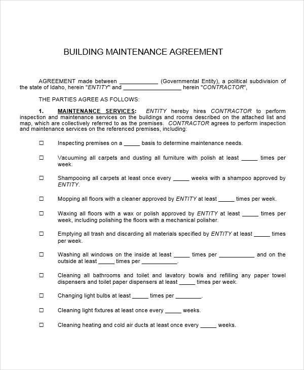 8+ Maintenance Contract Template \u2013 Free Sample, Example, Format - maintenance agreement