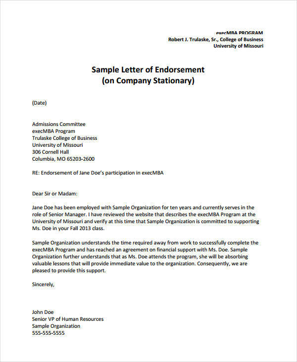 16+ Endorsement Letters Samples  Templates - PDF, DOC