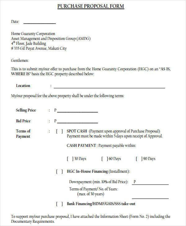 7+ Purchase Proposal Templates \u2013 Free Samples, Examples, Formats - purchase proposal template