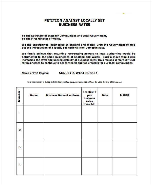 Petition Format Employee Wage Tax Refund Petition 7 Employee - petition examples