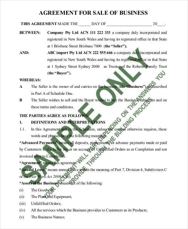 9 Sales Agreement Contract Samples  Templates Sample Templates - business sale contract