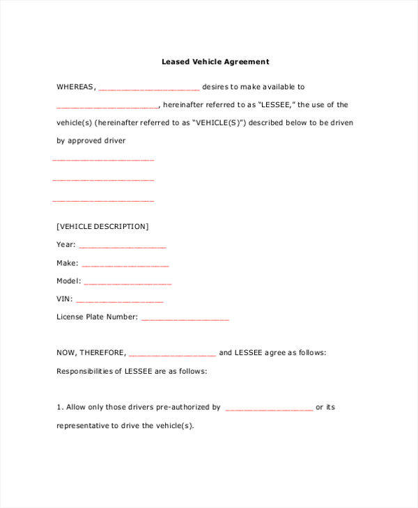 car lease contract template - 28 images - vehicle lease agreement
