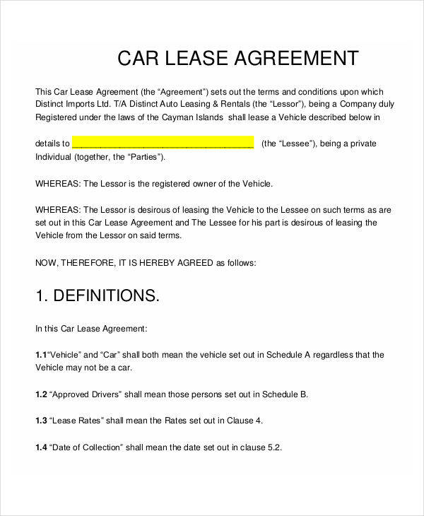 Car Lease Contract Template advertising contract template between – Vehicle Lease Agreement Templete