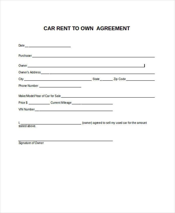 6 Rent-to-Own Contract Samples  Templates Sample Templates