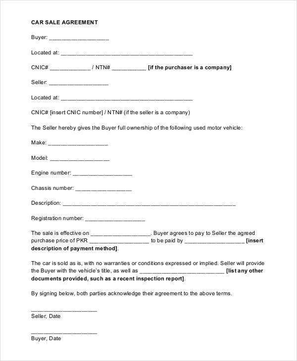 9+ Sales Agreement Contract - Free Sample, Example, Format Download - car sales contract sample