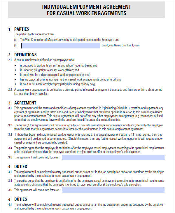 Casual Employment Contract Template labour contract templates 5 - Work Contract Template