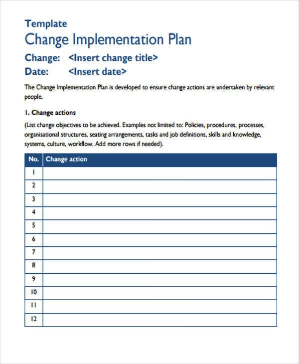 8+ Implementation Plan Templates - Free Sample, Example, Format - implementation plan template