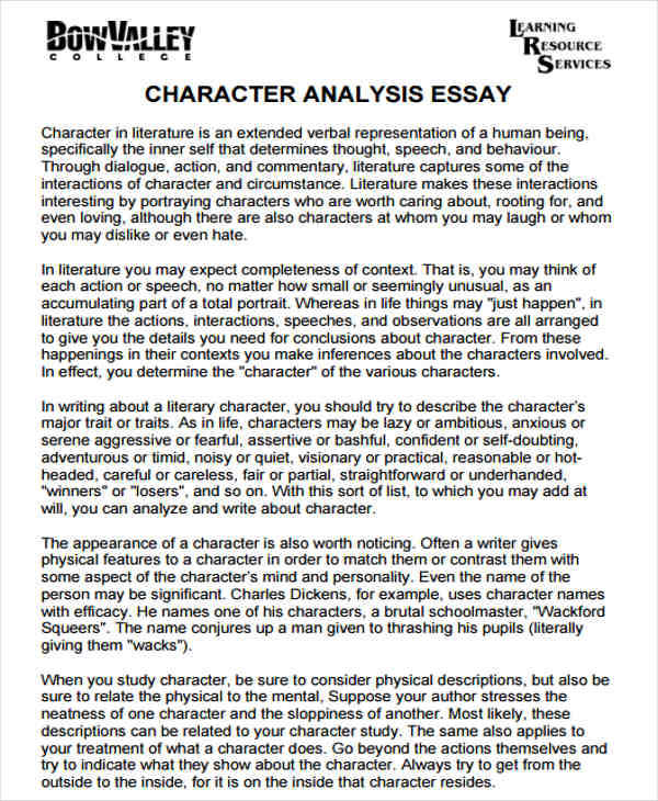 5+ Character Analysis \u2013 Free Sample, Example, Format Download