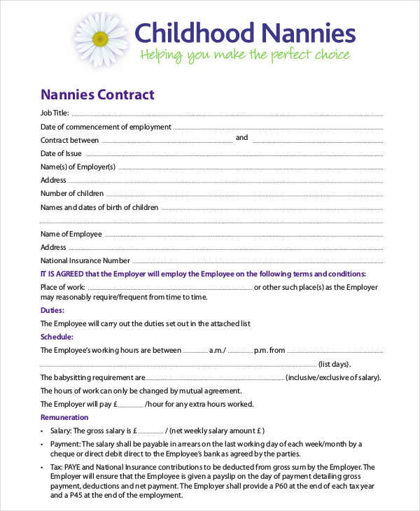 11-12 Housekeeping Contract Sample 2l2codenanny contract sample
