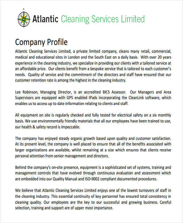25+ Company Profile Samples \u2013 PDF Sample Templates