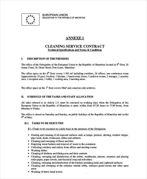 Cleaning Contract Template Cleaning Services Contract Template