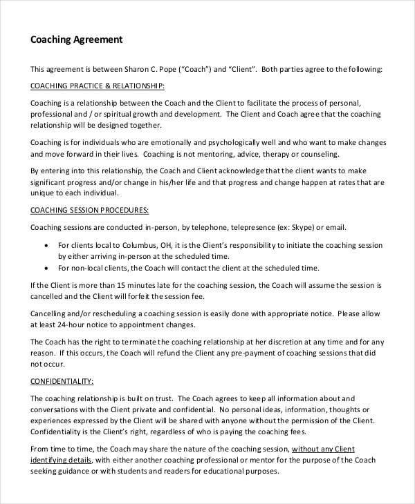 Coaching Contract Templates   Best Resumes