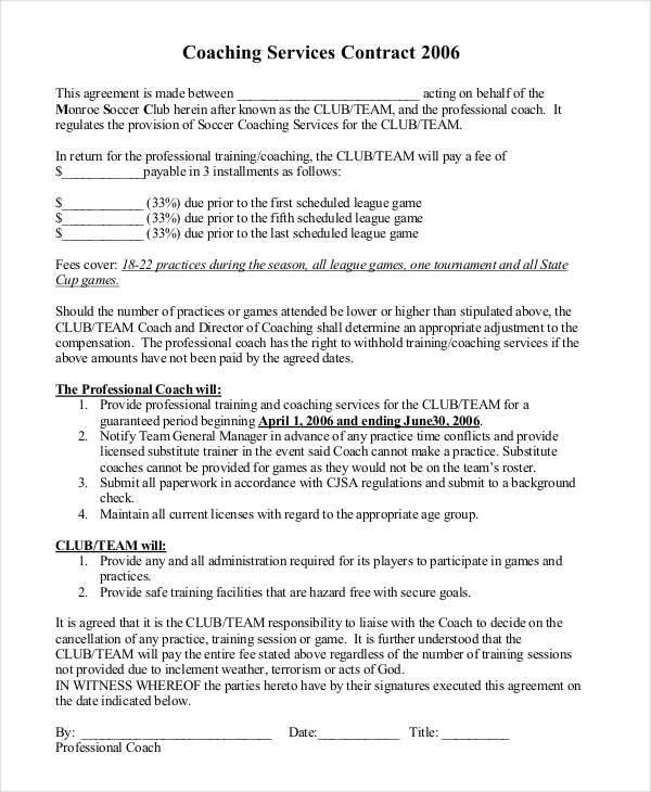 coaching contracts templates - 28 images - coaching contract