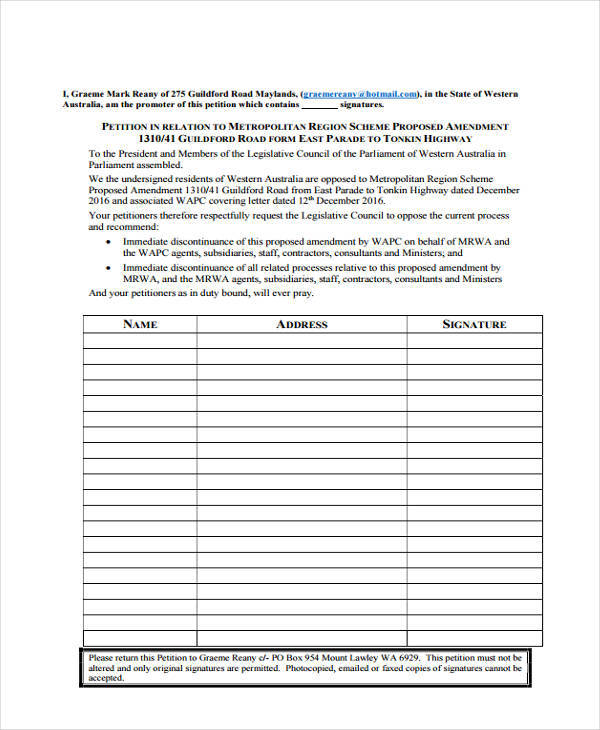 8 Community Petition - Free Sample, Example, Format Download - creating signers form for petition