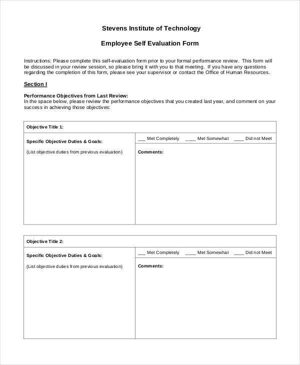 23 Employee Evaluation Form Examples - employee self evaluation form