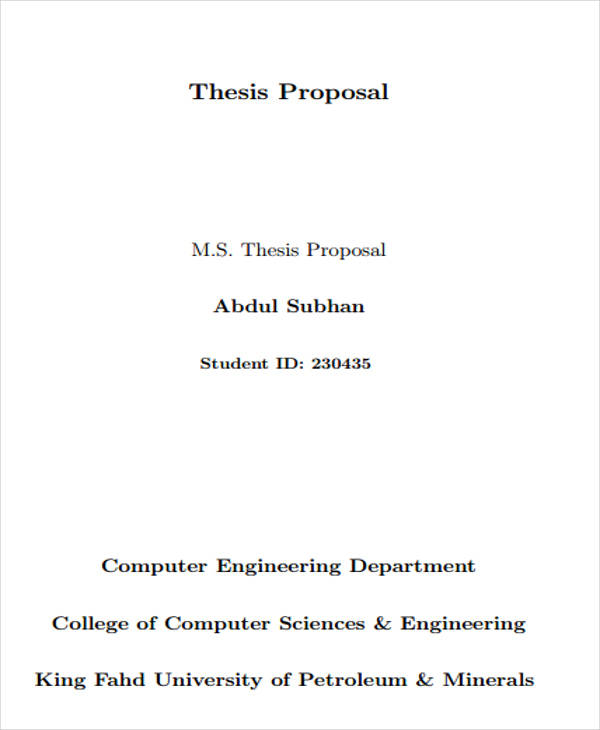 9+ Thesis Proposals \u2013 Free Sample, Example, Format Download Sample