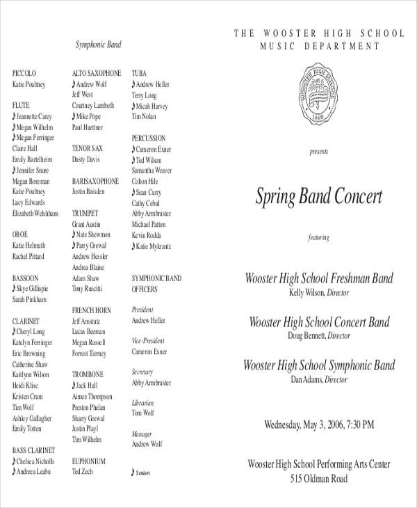 Band Concert Program Template  BesikEightyCo