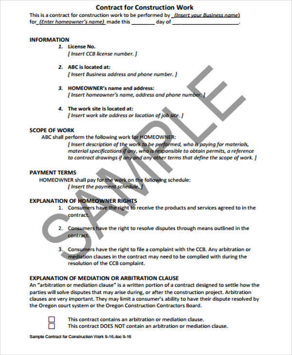 Construction Contract Format Resumesamplecsat - free construction contracts