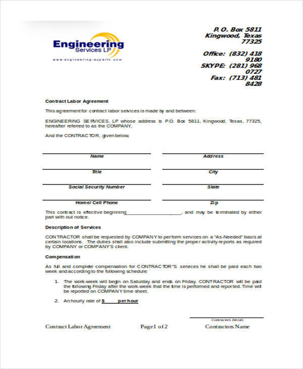Agreement Format For Labour Contract | Resume Format For Lecturer