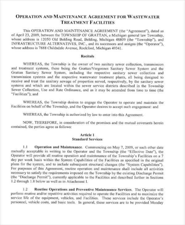 6 Printable Operations Contract Samples  Templates Sample Templates