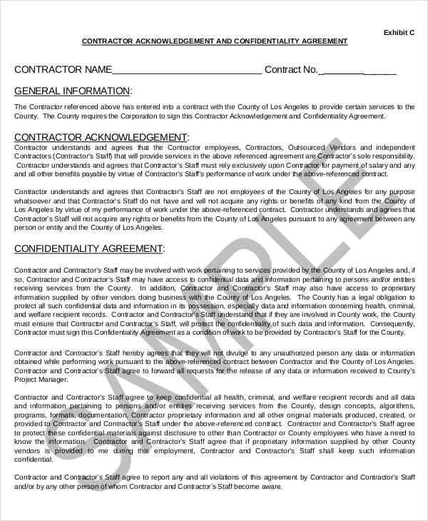7+ Contractor Confidentiality Agreements \u2013 Free Sample, Example - contractor confidentiality agreements