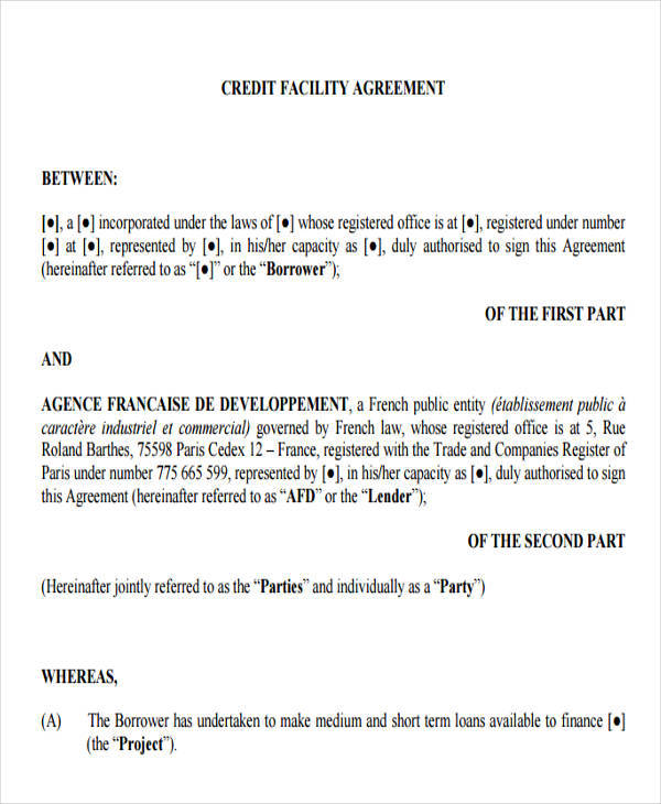 7+ Credit Agreement \u2013 Free Sample, Example , Format Download - credit agreement